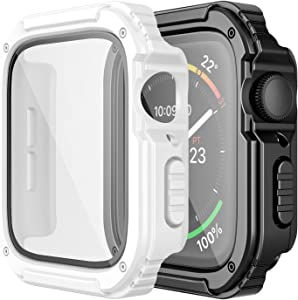 Adepoy 2 Pack Rugged Case Compatible for Apple Watch 38mm Series 3/2/1 with Tempered Glass Screen Protector, Military All Around Hard TPU Protective Cover Case Shockproof Bumper for iWatch Men 38mm