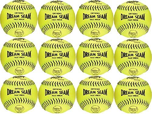 Rawlings Official NSA Dream Seam Fastpitch Softballs, 12 Count, PHD11NYL