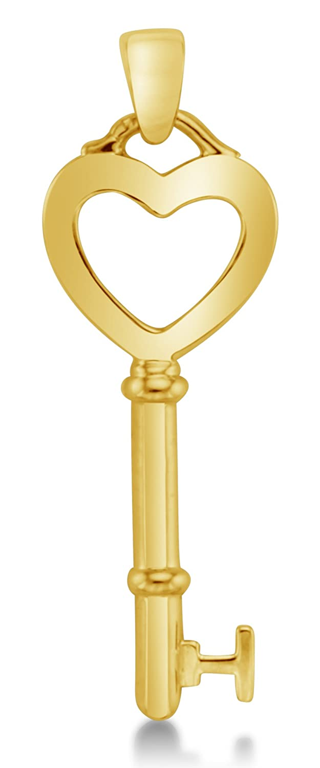 "14K Yellow Gold Dangle Heart Key Ladies Pendant Charm (Height = 1.25"" , Width = 3/8"")"