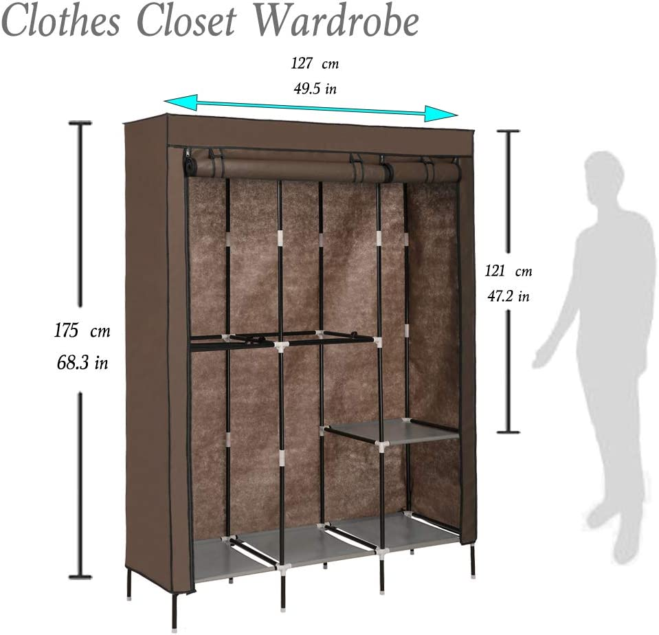 Coffee US Stock Quick and Easy to Assemble Korie Portable Clothes Closet Wardrobe Storage Double Rod Freestanding Closet with Non-Woven Fabric