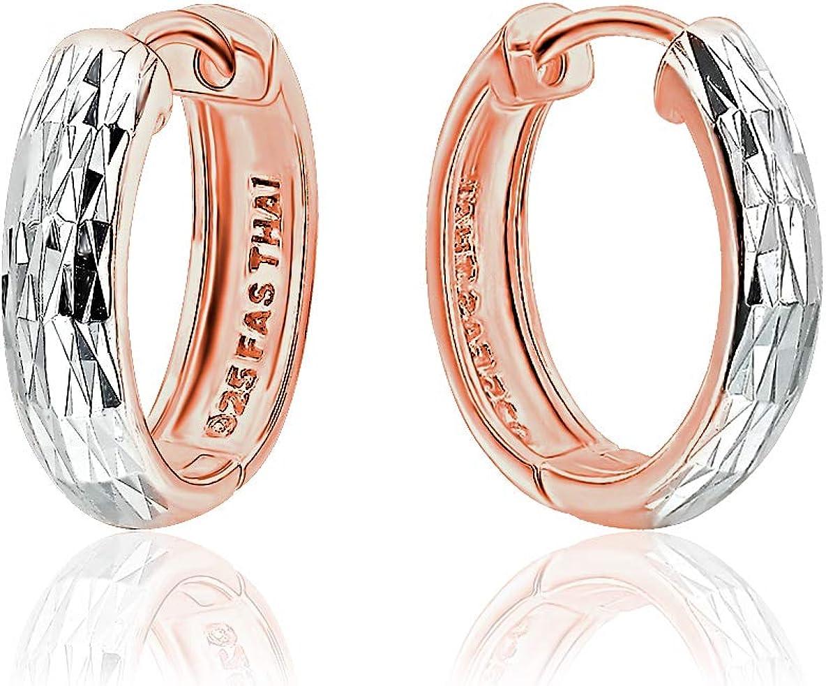 Sterling Silver Diamond Cut Ear Cuff Hinged Huggie Hoop Earrings for Women Girls, 16mm Diameter