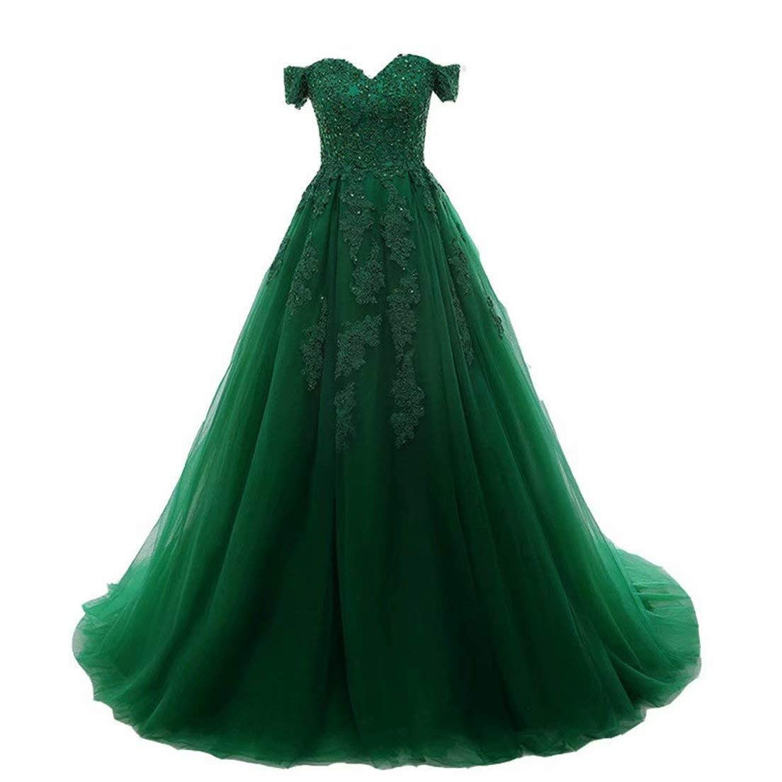 Emerald Green EEFZL Women's Beaded Lace Appliques Prom Dresses Tulle Evening Ball Gowns