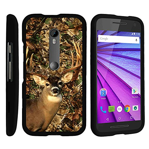 Case for Moto G 3rd Generation , 2 Piece Hard Snap On Case + Screen Protector Film + Stylus Pen Black Motorola G 3rd Gen by MINITURTLE - Deer Hunting Leaves (Phone G Case Camo Moto Cell)