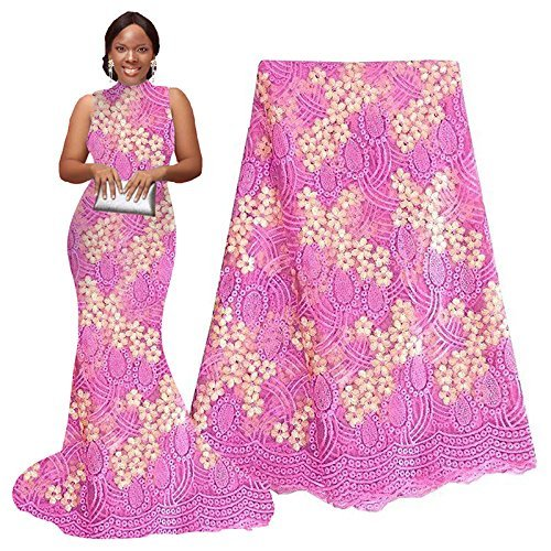 pqdaysun 5 Yards African Net Lace Fabrics Nigerian French Fabric Embroidery and Rhinestones Guipure Cord Lace (pink)