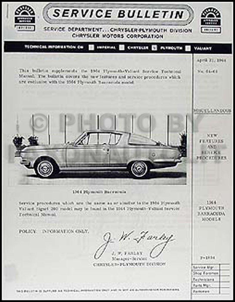 1964 Plymouth Barracuda Repair Shop Manual Supplement Reprint: Plymouth:  Amazon.com: Books
