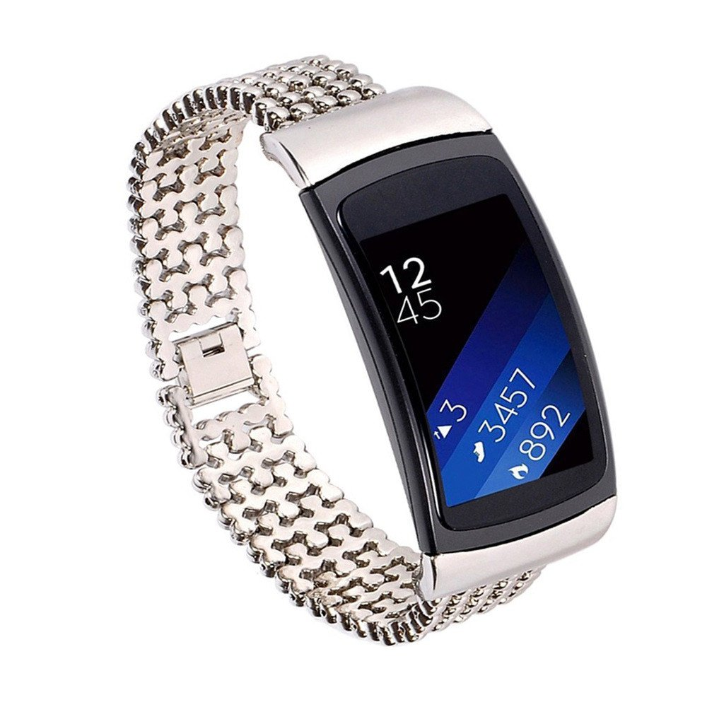 DIPOLA Nueva Pulsera de Repuesto para Samsung Gear Fit2 Prode de Acero Inoxidable con Banda de Reloj y Accesorio: Amazon.es: Deportes y aire libre