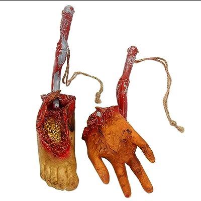 Burlife 2 Piezas Halloween Falso Humanas Picadas Manos y Pies Sangrientas, Partes del Cuerpo Cortadas Asustadizas Decoraciones del Partido de Halloween Carnival Prop: Hogar