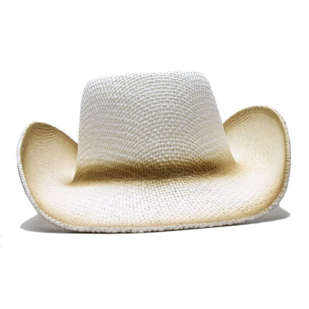 ZLQ Womens Mens Summer Solid Print Wide Brim Sun Cap Straw Beach Cowboy Western Cowgirl Hat Cowboy Hat One Size 60cm