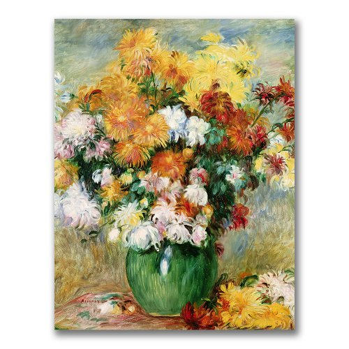 Bouquet Of Chrysanthumums by Pierre Renoir, Pretty vase