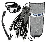 Cressi Frog Plus Fins with Frameless Mask Dry Snorke Set, BK-LXL