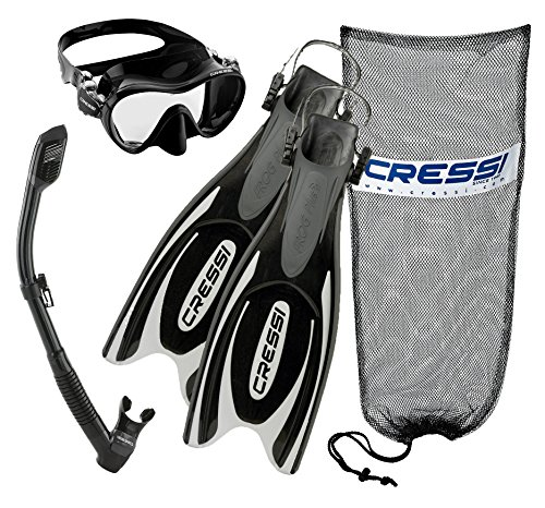 Xs Scuba Deluxe Mesh - Cressi Frog Plus Fins with Frameless Mask Dry Snorkel Set, BK-XS