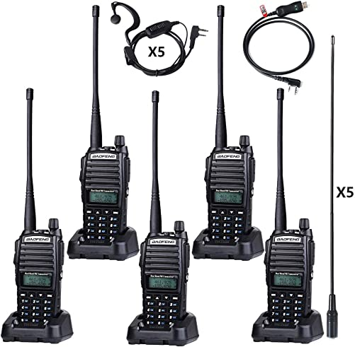 BaoFeng UV-82 BaoFeng Radio 8 Watt High Power UHF VHF Ham Radio Dual Band Amateur BaoFeng Walkie Talkies Portable 2 Way Radio 5 Pack with Driver Free Programming Cable and Long Antenna