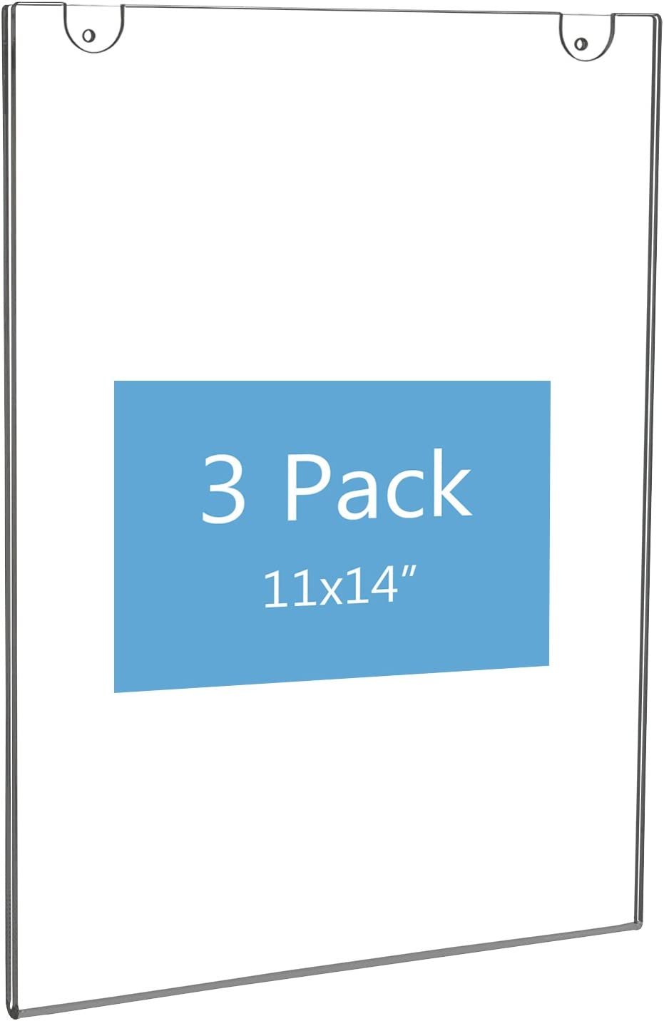 NIUBEE Acrylic Wall Sign Holder 11x14 Vertical, Clear Plastic Ads Frame for Paper, Bonus with 3M Tape and Mounting Screws(3 Pack)