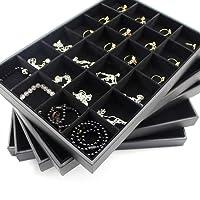 RUICK 24griglie nero display gioielli vassoio anelli piastra porta anelli orecchini collana pietra di diamante vetrina organizzatore