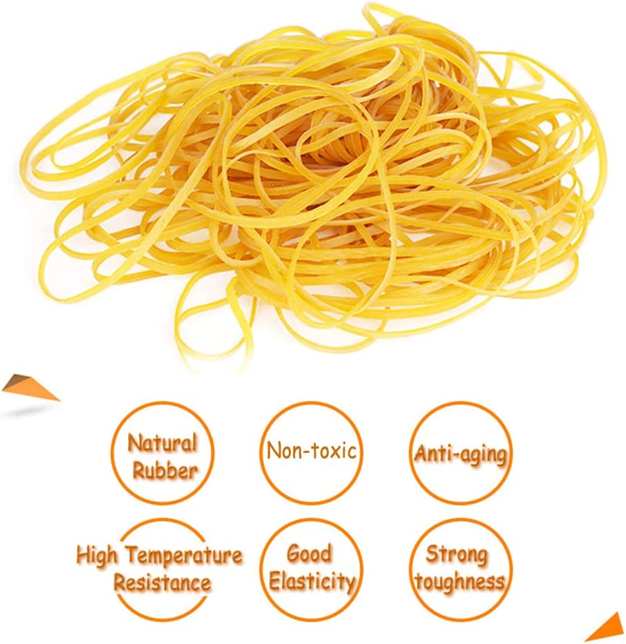 Rubber Bands Trash Can Yellow WENTS 120PCS Elastic Bands for School Office Bank Home and Various Purpose Supply File Folders