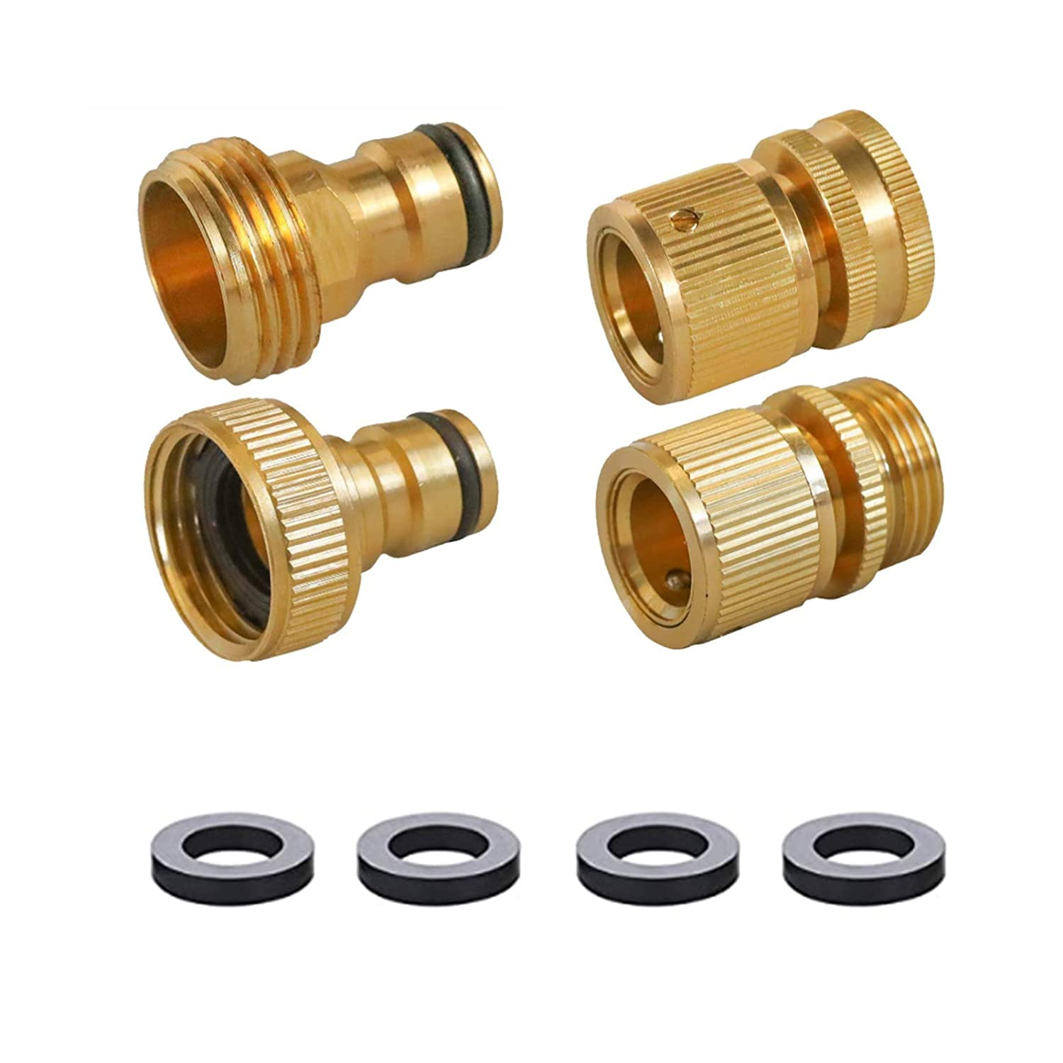 Garden Hose Quick Connect, Solid Brass 3/4 Inch Female and Male Connectors to Brass Male and Female Nipples Garden Hose Fitting Water Hose Connectors