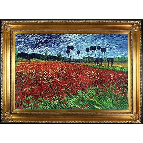 overstockArt Van Gogh Field of Poppies Painting with Regency Gold Finish Frame