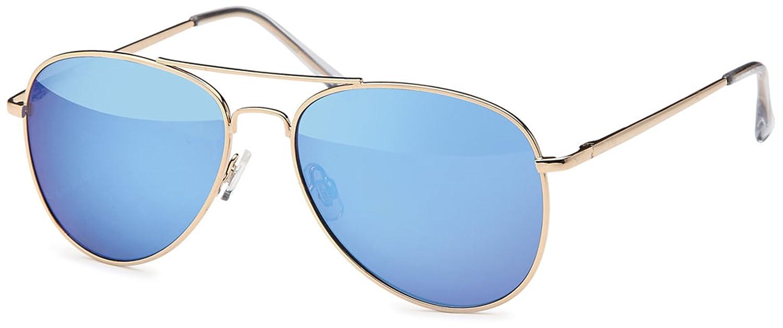 Unisex Edelstahl Pilotenbrille mit Polycarbonatgläser UV400 Filter- Im Set mit Brillenbeutel (Blau verspiegelt) 1hFhk065c
