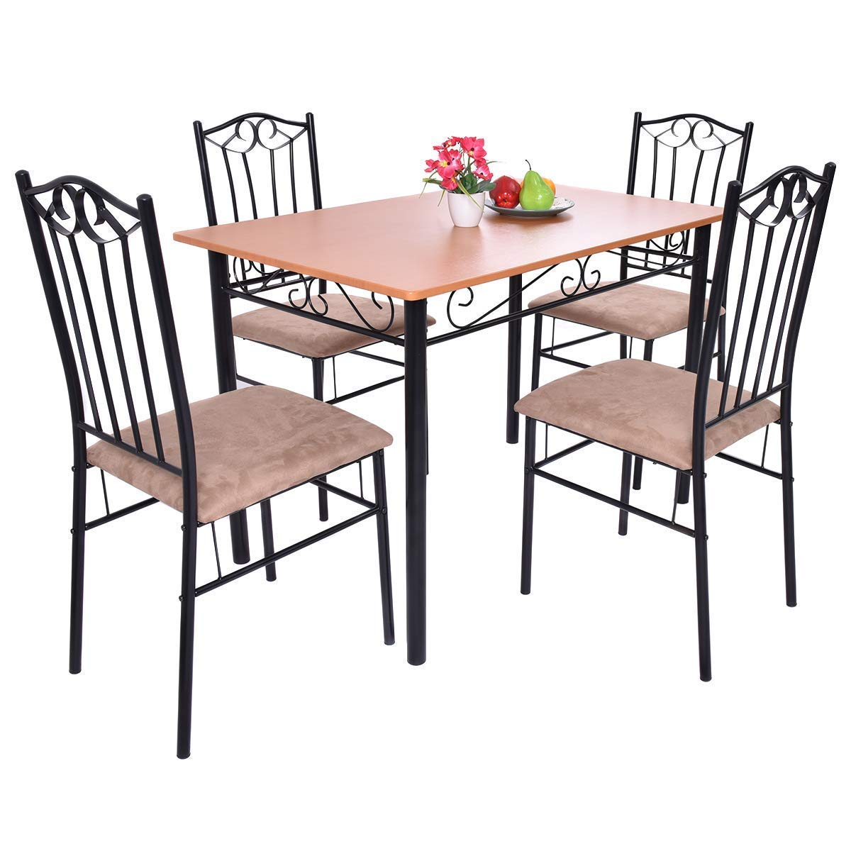 Casart 5 PCS Dining Table Set Vintage Wood Top Padded Seat Dining Table and Chair Set Home Kitchen Dining Room Furniture