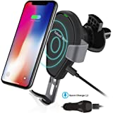 Wireless Car Charger, Fast Wireless Charging Mount Air Vent Gravity Phone Holder Cradle Car Charger w/Quick Charge 3.0 for iPhone X/8 Plus/8, Samsung Galaxy S8 and All Qi-enabled Devices