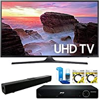 Samsung 40 4K Ultra HD Smart LED TV 2017 Model (UN40MU6300FXZA) with HDMI HD DVD Player, Solo X3 B.tooth Home Theater Sound Bar, 2x 6ft High Speed HDMI Cable & Screen Cleaner for LED TVs