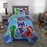 PJ Masks Soft Microfiber Comforter, Sheets and Plush Cuddle Pillow Kids Bedding Set, Twin Size 5 Piece Bundle Pack