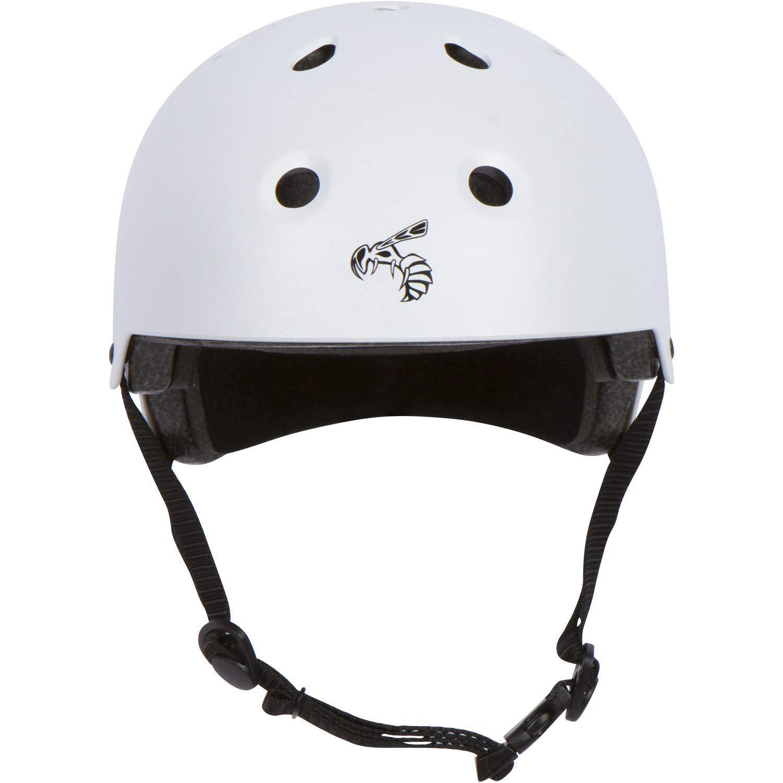 Yellow Jacket Certified Skateboard Helmet - CPSC ASTM Certified Impact Resistance Ventilation Multi-Sport, White Lightning - Small
