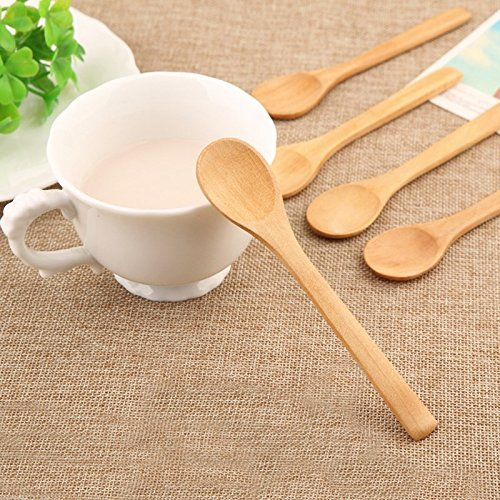 Natural Wood Spoon Coffee Honey Tea Spoons 20Pcs/Set Ladle Scoop Home Spice Condiment Mixer Tableware Kitchen ()