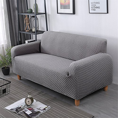 GIANCO FERRO Decorative Elastic Sofa Cover Solid Color Fashion Sofa Slipcovers For living Room Stretchable Couch Cover Cushion(Loveseat, Gray) by GIANCO FERRO