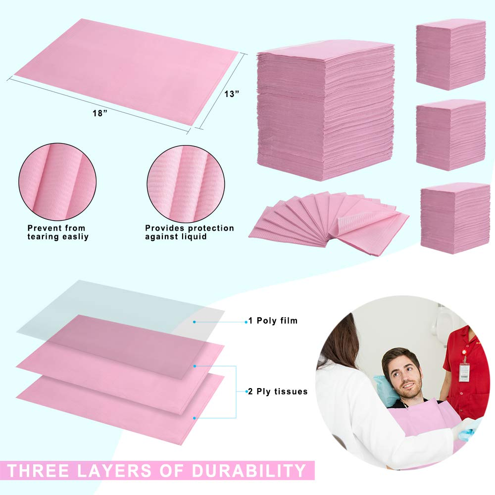 """(Pack of 500) Dental Bib 13"""" X 18"""" 3-Ply Pink Premium Disposable Waterproof Patient Bibs /2 Ply Tissue + 1 Ply Poly/Polyback Sheet; Waterproof Tattoo Bibs, Tattoo Tray Covers and Dental Napkins by JJ CARE (Image #6)"""