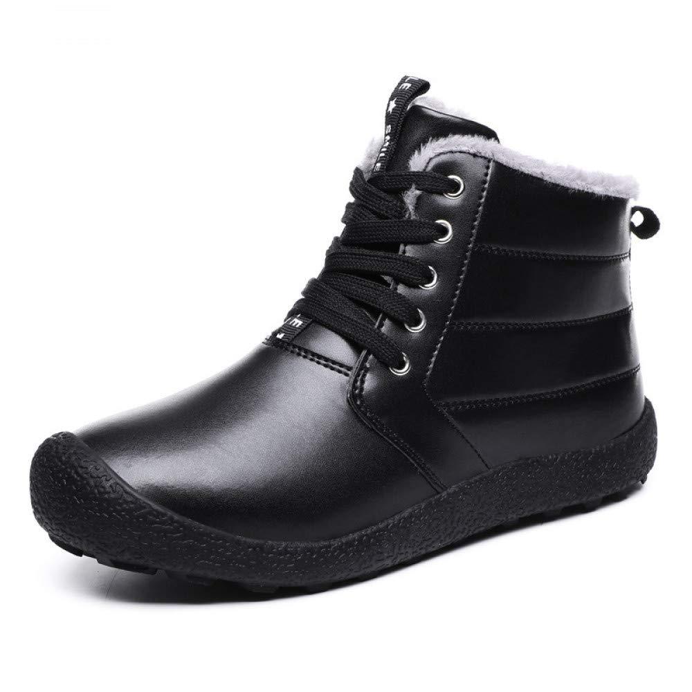 FHCGMX Mens Winter Schnee Stiefel schnüren Stil Pu Leder Wasserdichte Outdoor Stiefel Männer halten warme Männer Stiefel