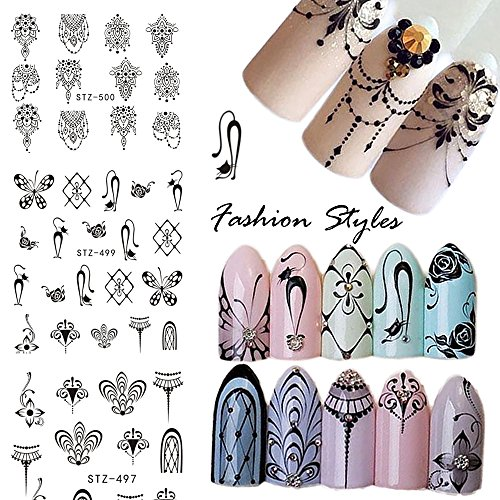 3 Patterns/6 Sheets Nail Stickers Cat Nail Decals Tattoos Black Water Transfer Nail Art Stickers Wrap Foil Sticker for Manicure ()
