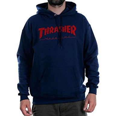 e975f4c9b9d Thrasher Magazine Logo Felt Stitched Hooded Sweatshirt Navy  Amazon.co.uk   Clothing