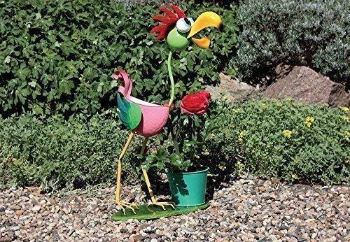 Divertido Maceta Soporte Pájaro, Colorido Jardín Figura Metal con Maceta: Amazon.es: Hogar