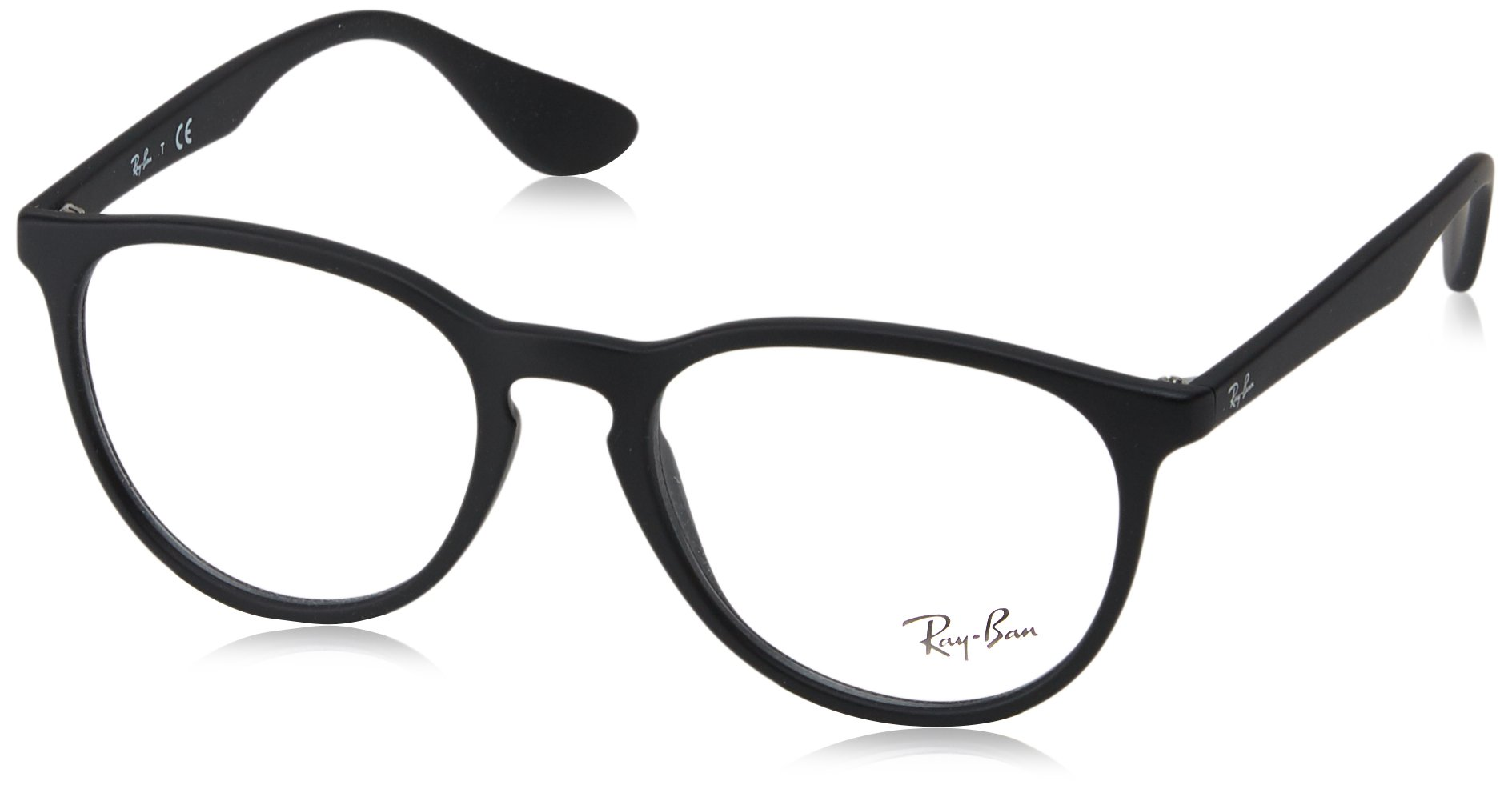 RAY-BAN RX7046 Rectangular Eyeglass Frames, Rubber Black/Demo Lens, 51 mm by Ray-Ban