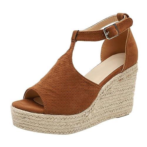 Modaworld Sandalias de Vestir Mujer, Sandalias Mujer Cuña Alpargatas Plataforma Bohemias Romanas Playa Gladiador Verano Tacon Planas Zapatos Zapatillas: ...