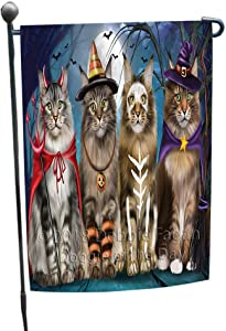 Doggie of the Day Happy Halloween Trick or Treat Maine Coon Cats Garden Flag GFLG54670