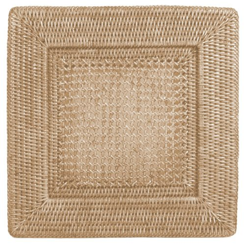 Entertaining with Caspari Rattan Dinner Plate Charger, Square, Natural White, 1-Count (Chargers Square Wicker)