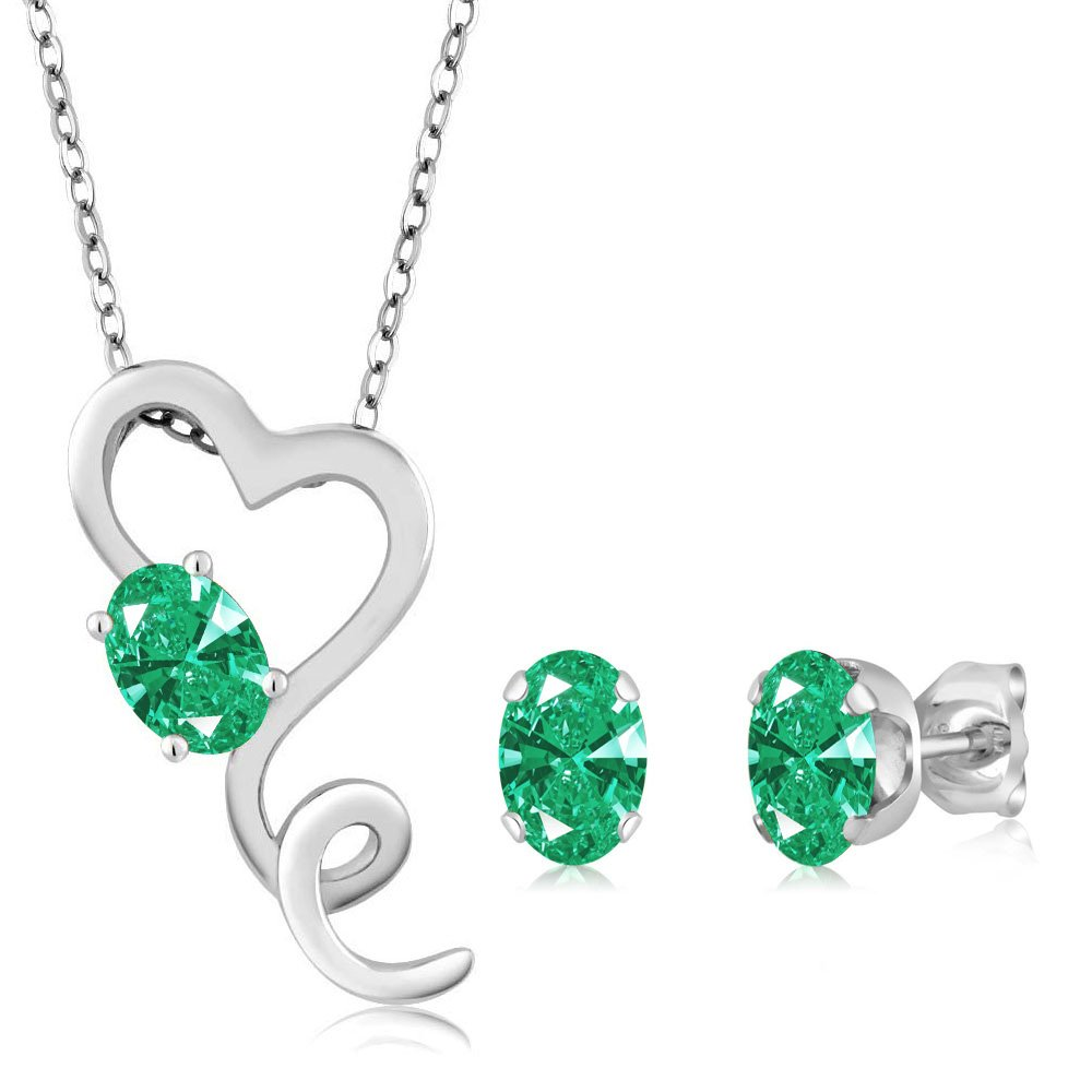 Carlo Bianca Green 14k White Gold Pendant Earrings Set Made With Swarovski Zirconia by Gem Stone King