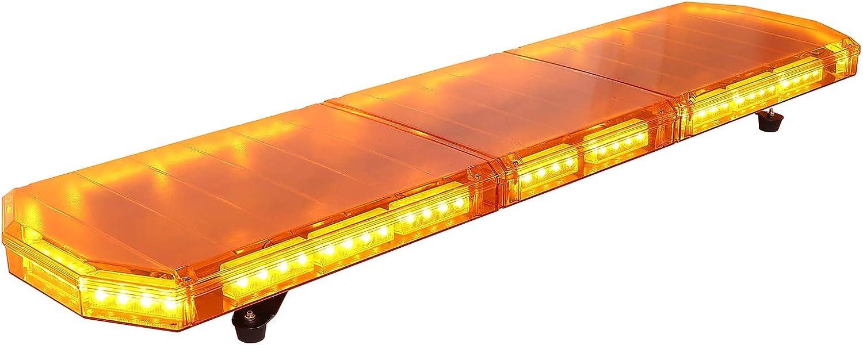 88LED Barra Luz Estroboscopica de Advertencia Lampara de Emergencia Flash 21 Modos Interruptor LCD con 5metros de Cable de Alimentación para 12-24V Remolque SUV Camión Fugoneta Caravana