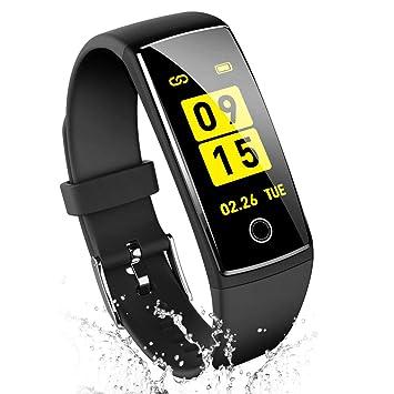 47dc992caf 改良版 スマートウォッチ 歩数計 活動量計 血圧計 心拍計 スマートブレスレット カラー