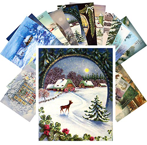 Vintage Christmas Greeting Cards 24pcs Winter Forest Christmas Night Landscapes REPRINT Postcard Pack