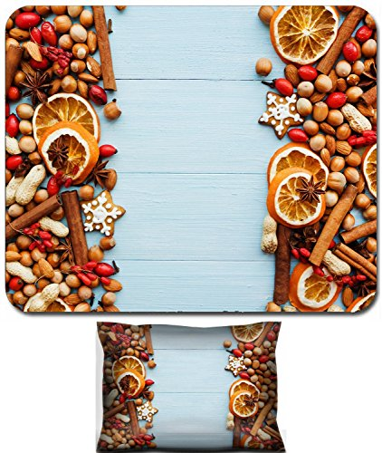 - Liili Mouse Wrist Rest and Small Mousepad Set, 2pc Wrist Support IMAGE ID 33412529 Christmas background nuts dried oranges spices and gingerbread cookies Viewed from above