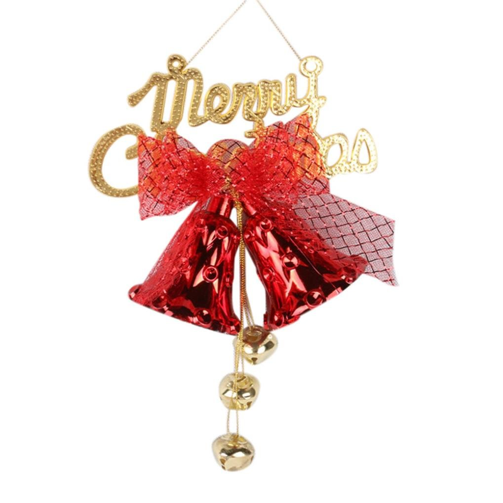 LNGRY 1PC Christmas Bell String Hanging Christmas Party Tree Decoration Ornament (Red)