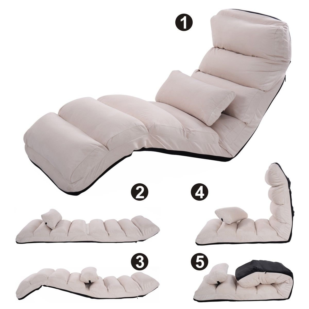 New Beige Folding Lazy Sofa Chair Stylish Sofa Couch Beds Lounge Chair W/Pillow