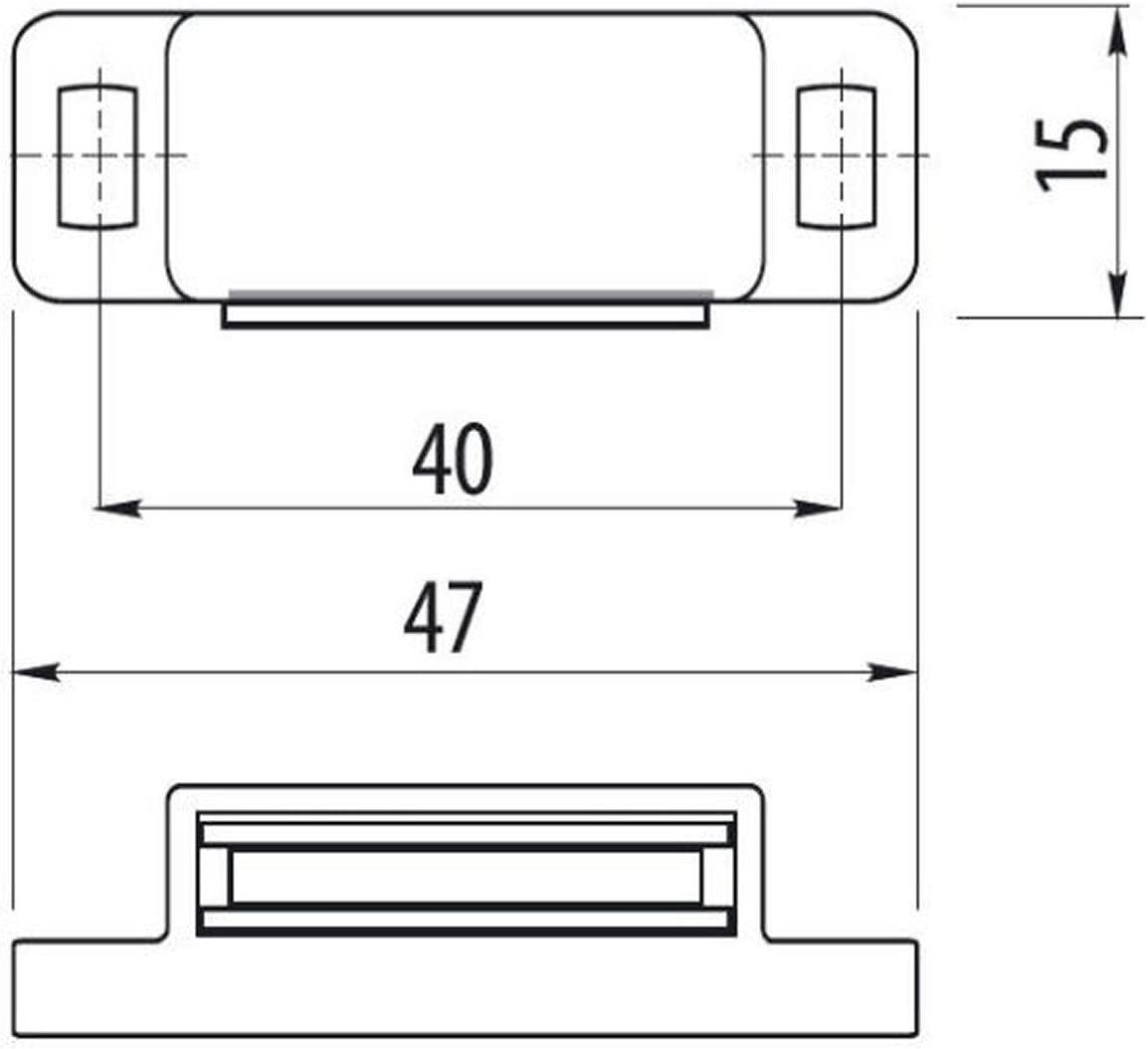 Haftkraft 5-6 kg SO-TECH/® Magnet-Schnapper T/ürmagnet Magnetverschluss mit starrer Halteplatte braun