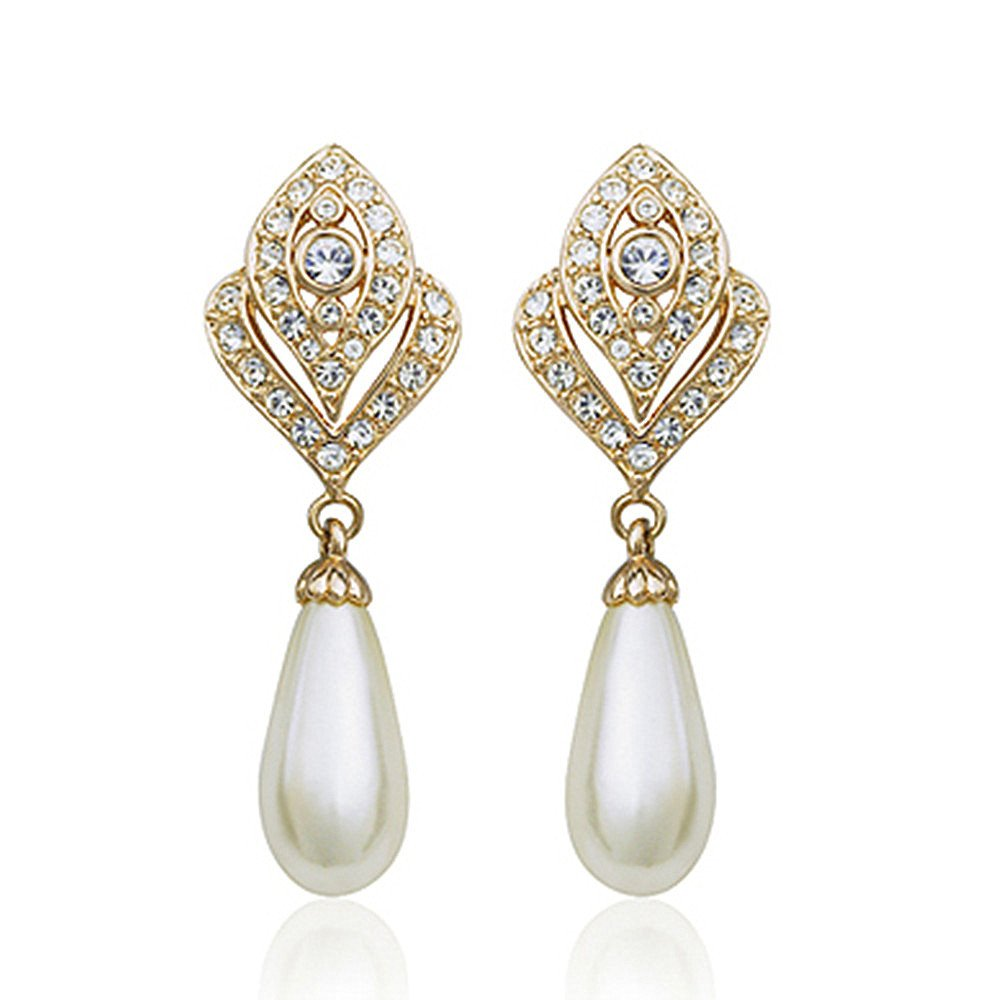 Clip On Pearl Dangle Earrings for Women, 18K Gold Plated , Art Deco Vintage Wedding Style