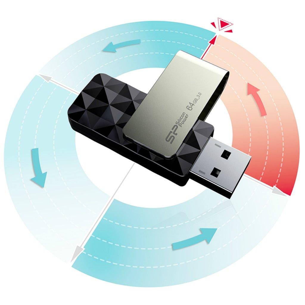 Silicon Power 128GB Blaze B30 USB 3.0 Swivel Flash Drive, Black (SP128GBUF3B30V1K) by Silicon Power (Image #2)