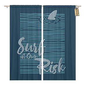 Golee Window Curtain Blue Sport Surf Tee Graphics Area Shark California Varsity Home Decor Rod Pocket Drapes 2 Panels Curtain 104 x 96 inches