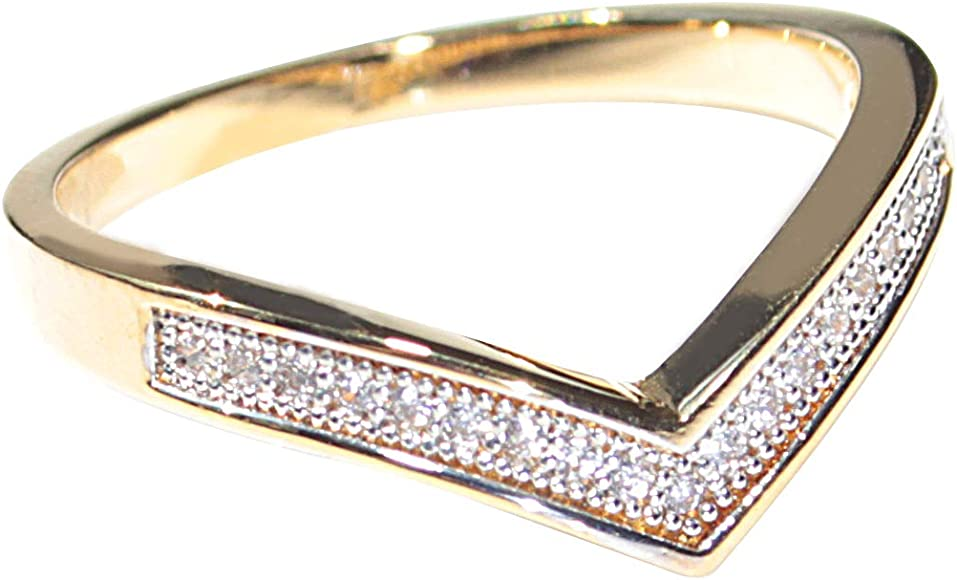 Ah Jewellery Ladies 18kt Genuine Gold Filled Pave Wishbone Ring Uk Guarantee 3µ 10 Years Gorgeous Little Must Have Brilliant Quality Amazon Co Uk Jewellery